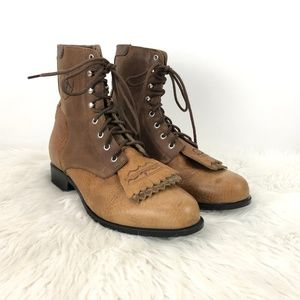Ariat Brown Leather Fringe Lace-up Prairie Boots